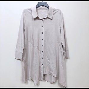 Soft Surroundings Asymmetrical Grey Button Shirt
